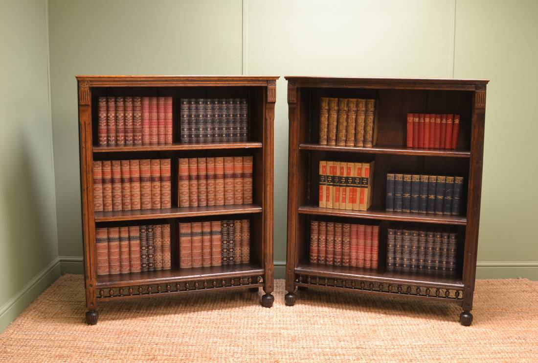 Unusual Pair of Victorian Oak Arts & Crafts Antique Open Bookcases.