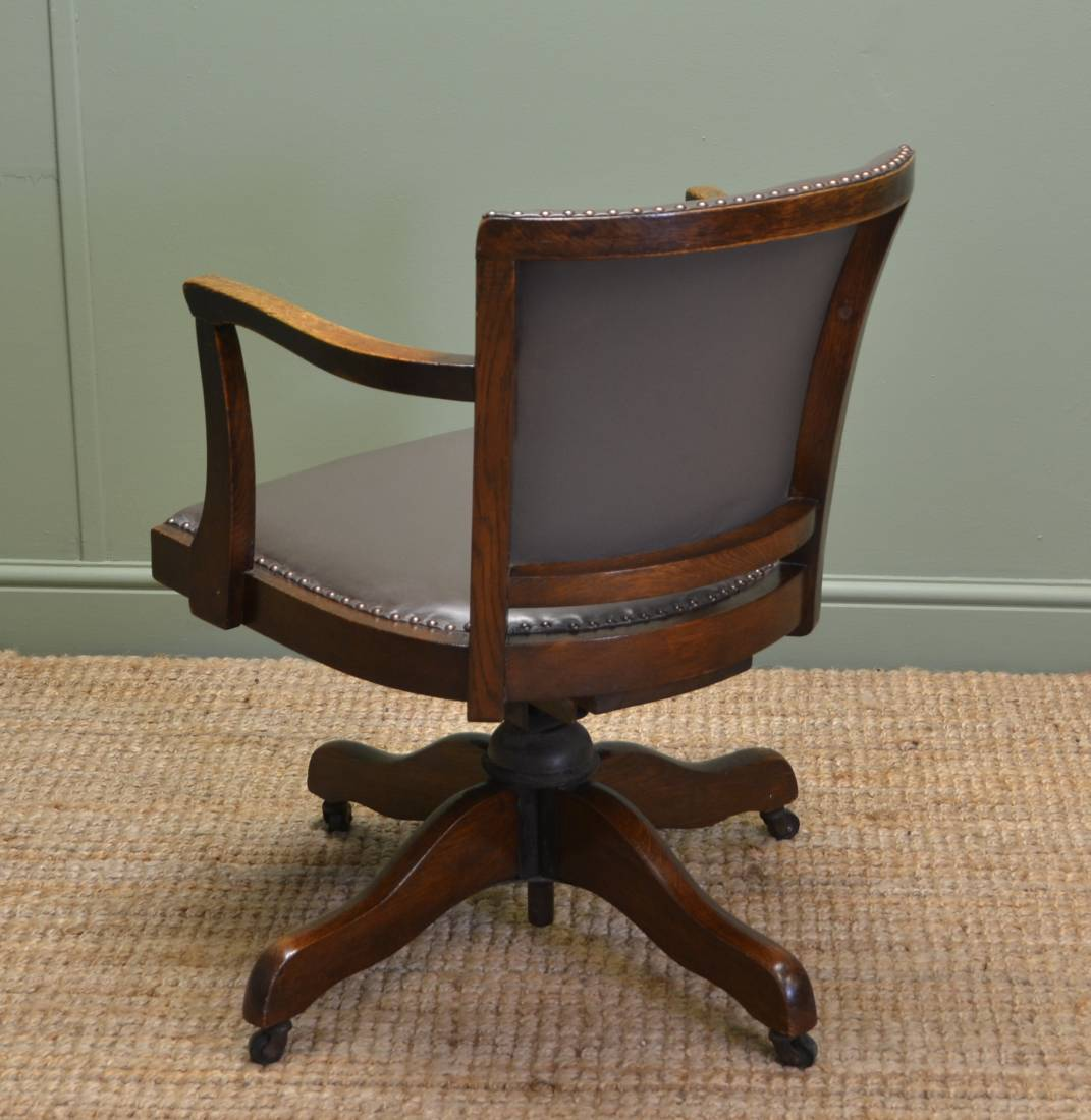 ... Art Deco Antique Solid Oak Swivel Desk Chair - Antique Desk Chair - Antiques World