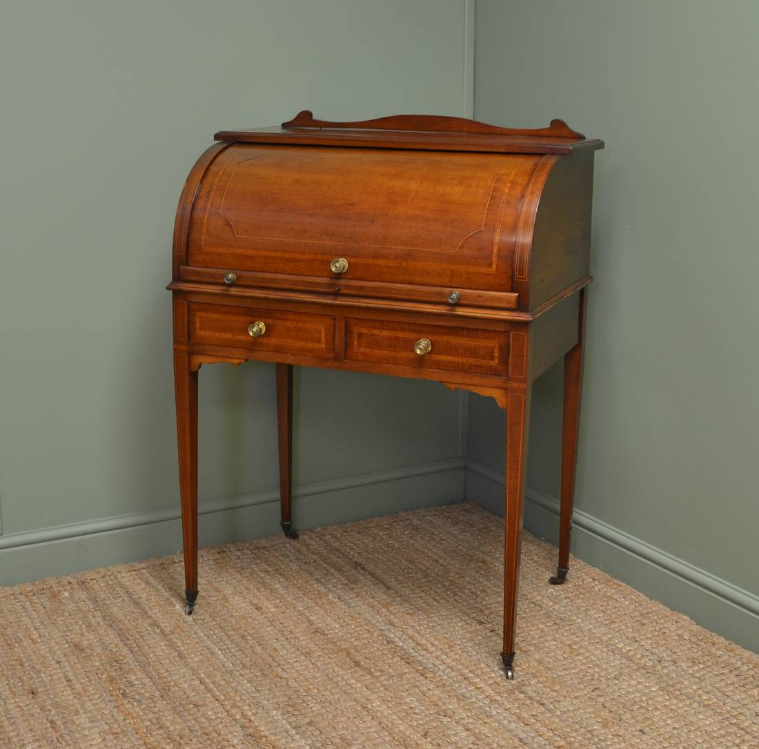 Elegant, Inlaid Mahogany, Edwardian Cylinder Front Antique Desk