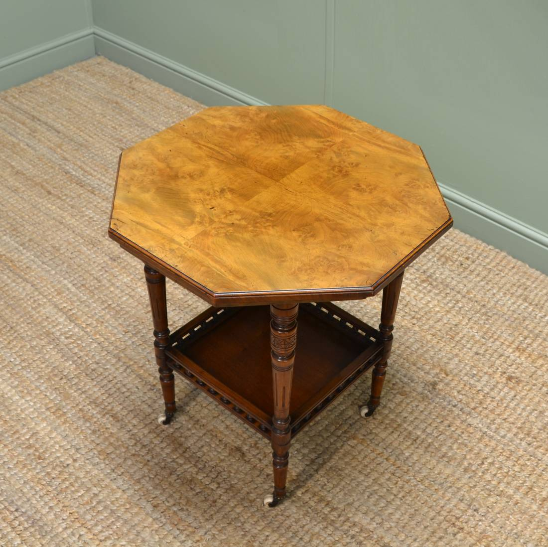 Superb Quality Figured Walnut Small Antique Victorian Table