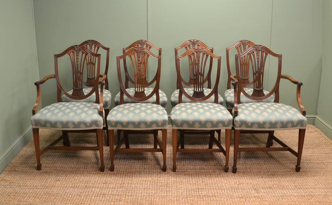 Fine Quality, Set of Eight Edwardian Mahogany Antique Dining Chairs.