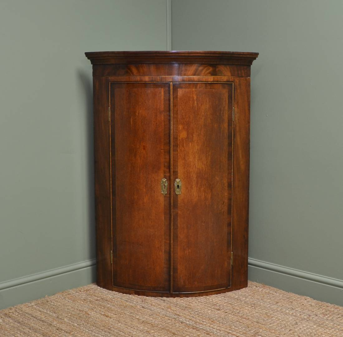 Fine Quality Bow Fronted Antique Georgian Corner Cupboard