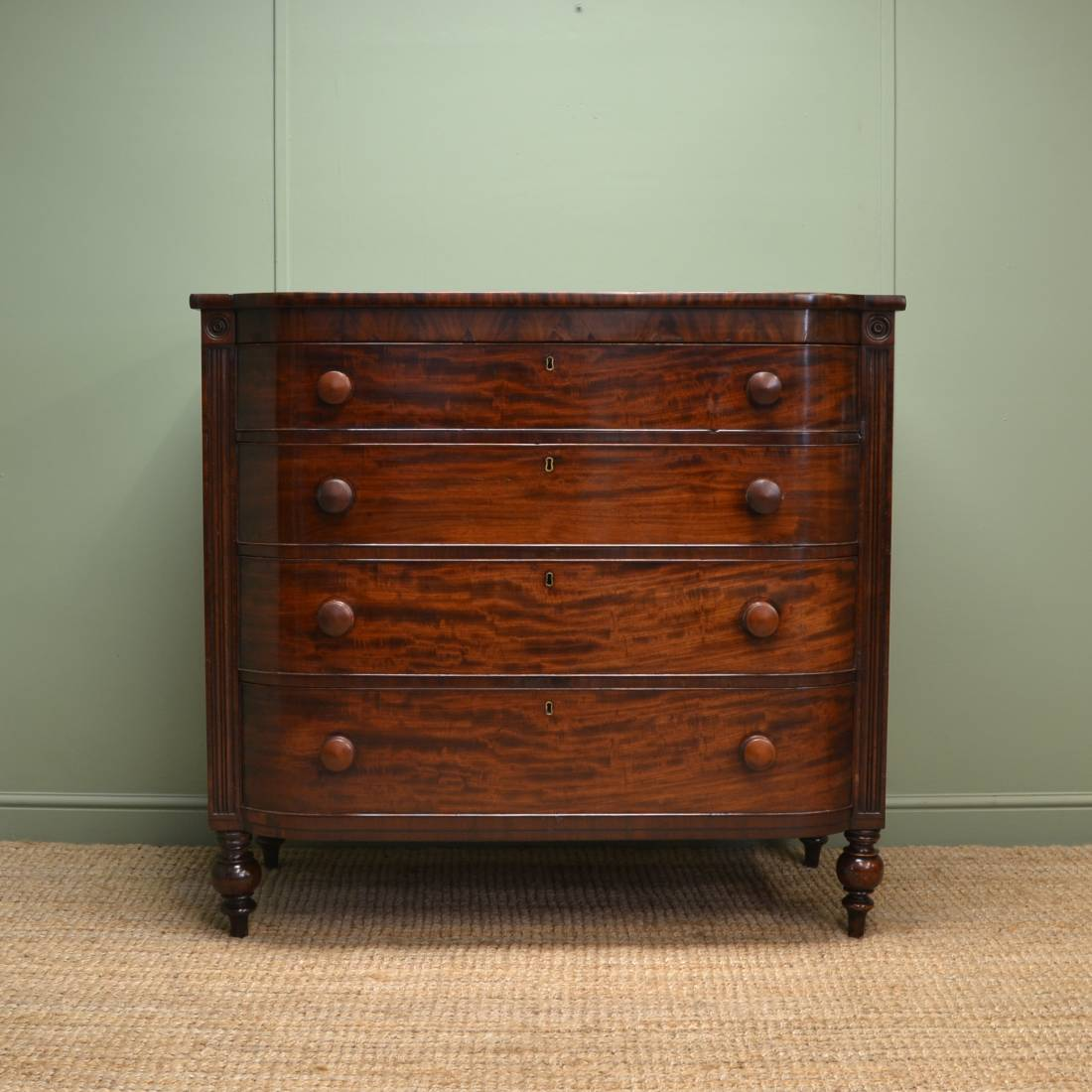 Antique Bow Fronted Mahogany, Victorian Chest of Drawers