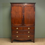 Beautifully Figured George III Antique Mahogany Linen Press