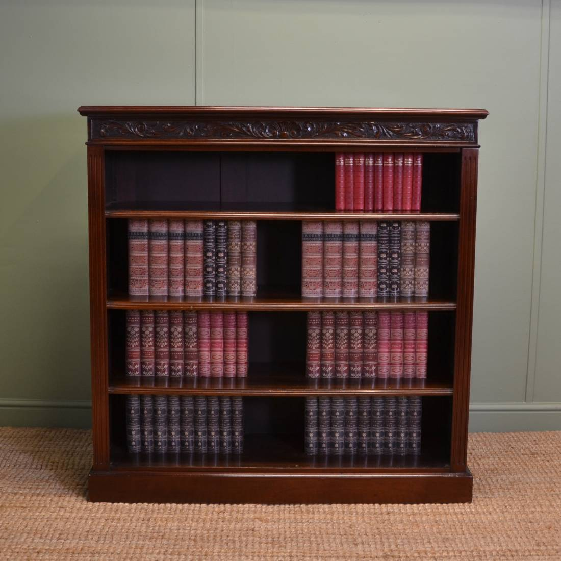 Quality Victorian Walnut Antique Open Bookcase with Decorative Carved Edge