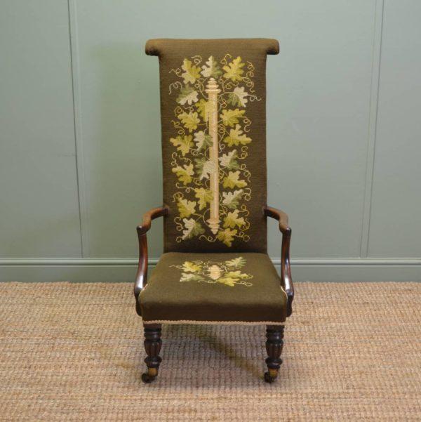 Unusual William IV Mahogany Antique Prayer Chair / Side Chair