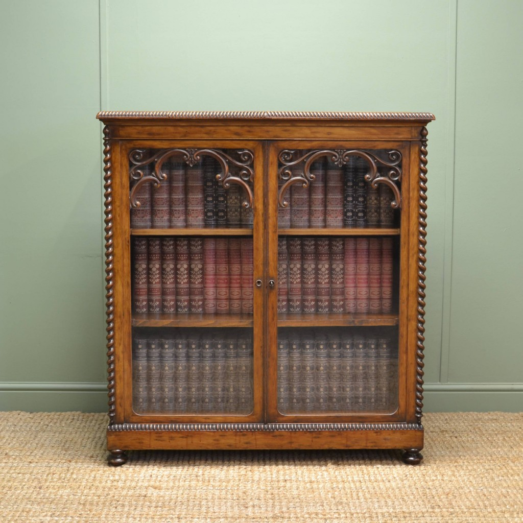 Quality Victorian Maple Ornate Bookcase Display Cabinet