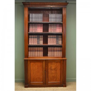 Grand Victorian Mahogany Antique Open Bookcase on Cupboard