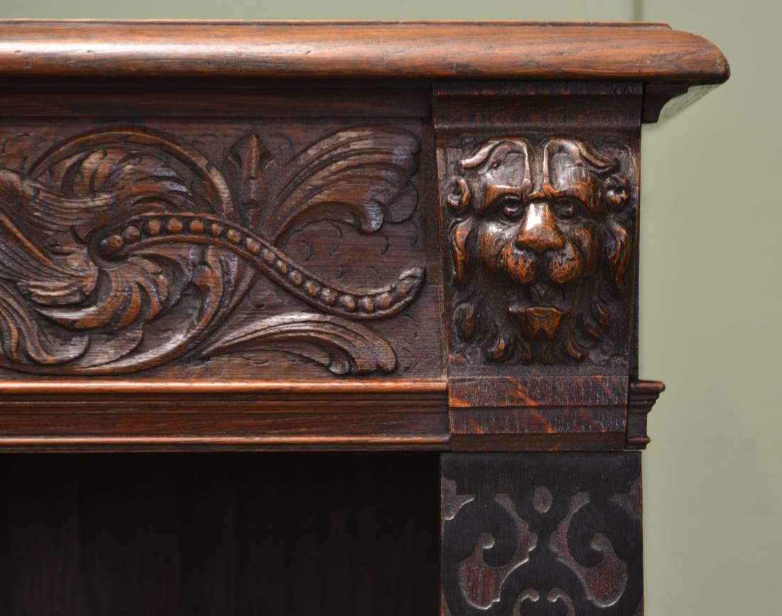 Large victorian oak antique open bookcase with lion head