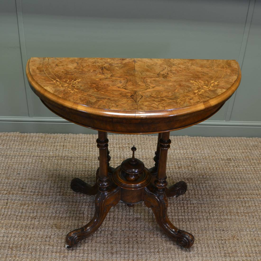 Beautifully Inlaid Burr Walnut Antique Card Table / Console table