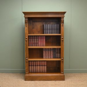 Quality Victorian Tall Oak Antique Open Bookcase