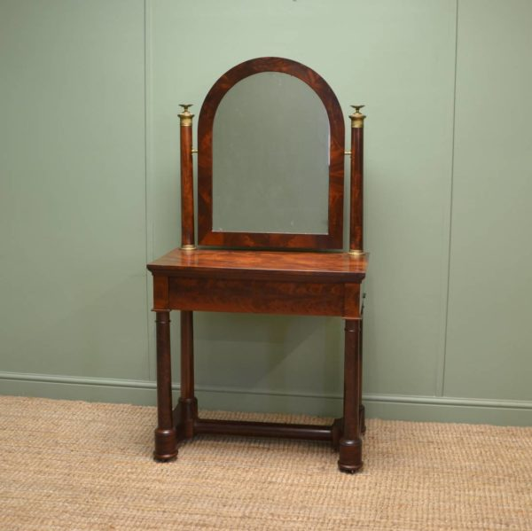 Stunning French Empire, Figured mahogany Antique Dressing Table