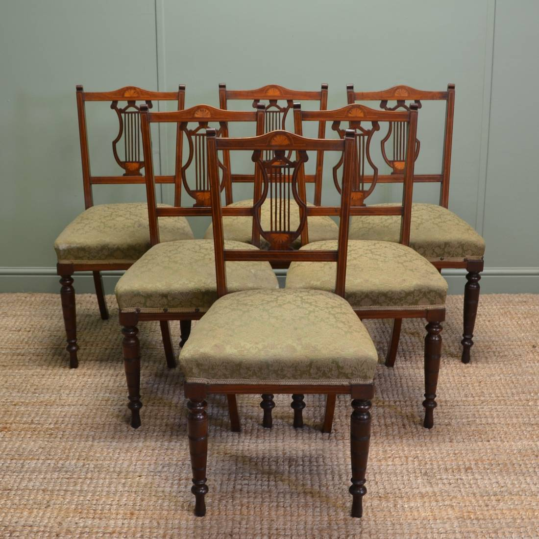 Set of 6 Inlaid Antique Edwardian Mahogany Dining Chairs