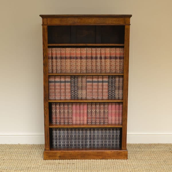 Quality Tall Victorian Oak Antique Open Bookcase