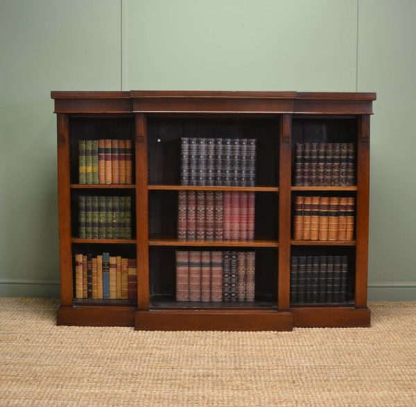 Victorian Oak brakefronted Antique Open Bookcase