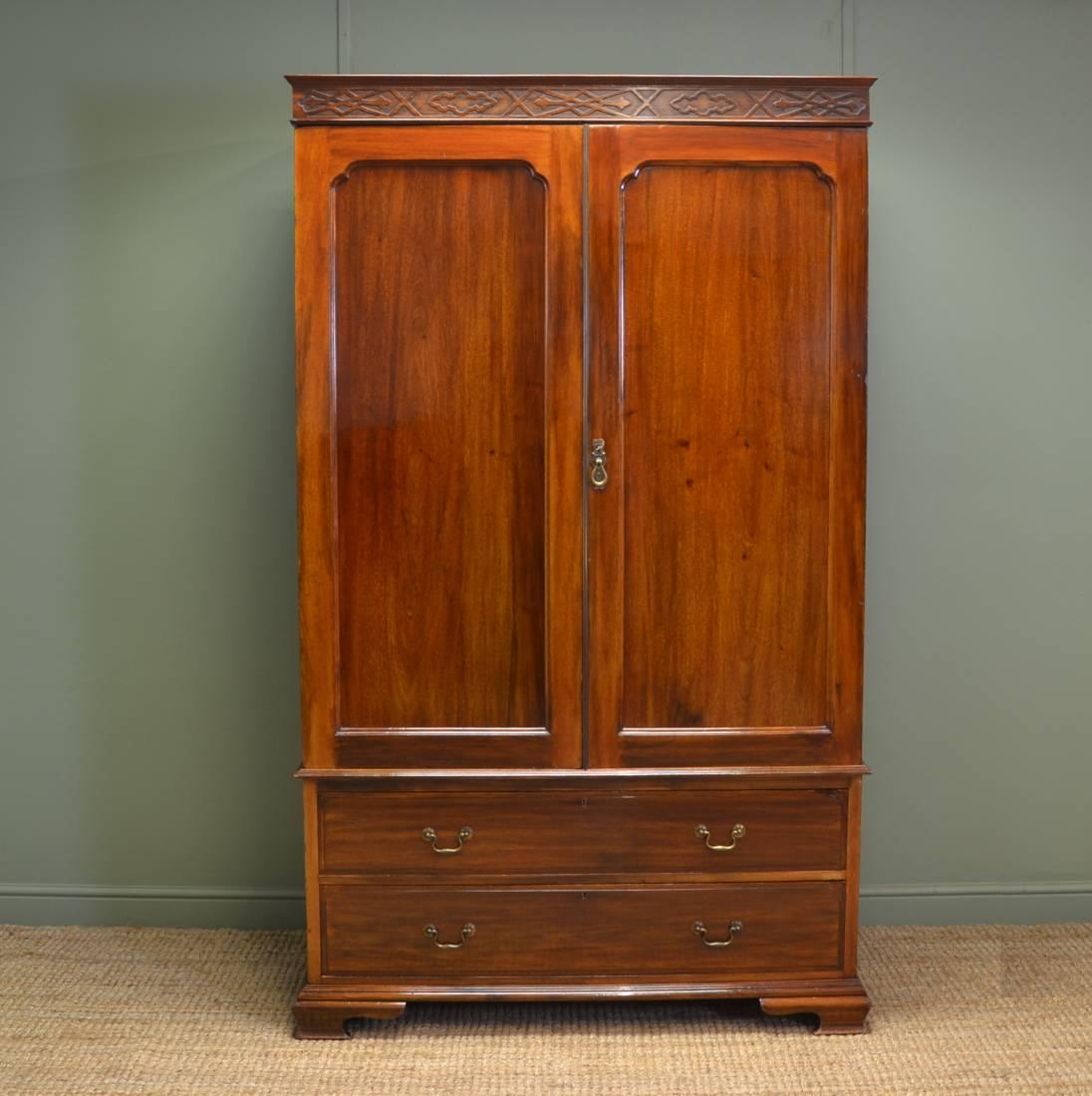 Waring and Gillows Antique Mahogany Double Wardrobe