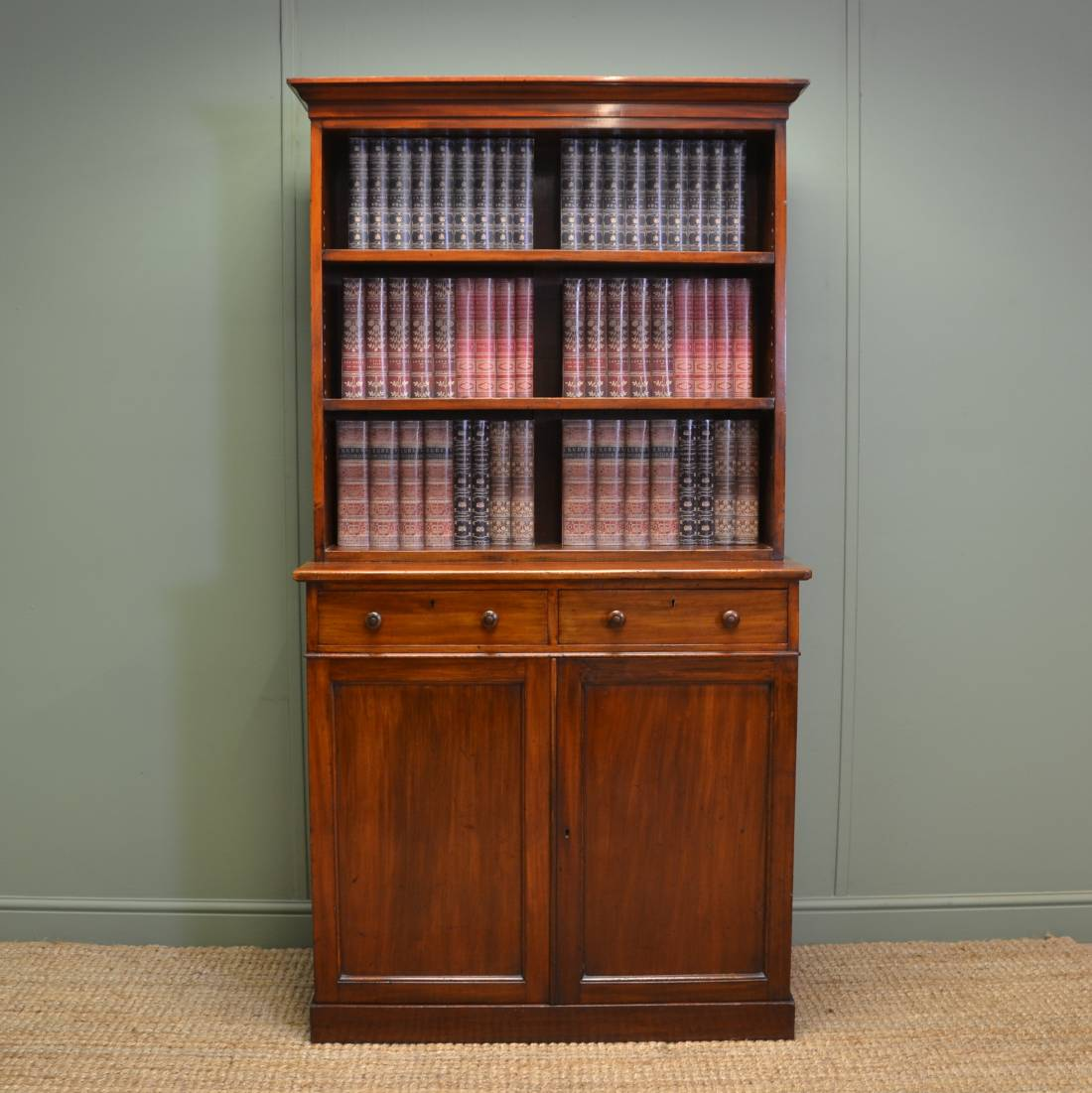 Unusual Holland and Sons Antique Mahogany Open Bookcase on Cupboard