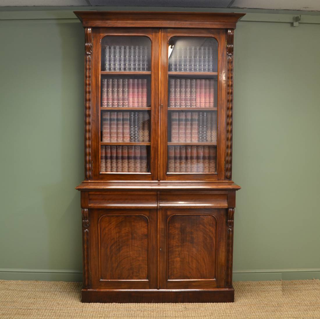 Large Victorian Mahogany Antique Bookcase With Decorative