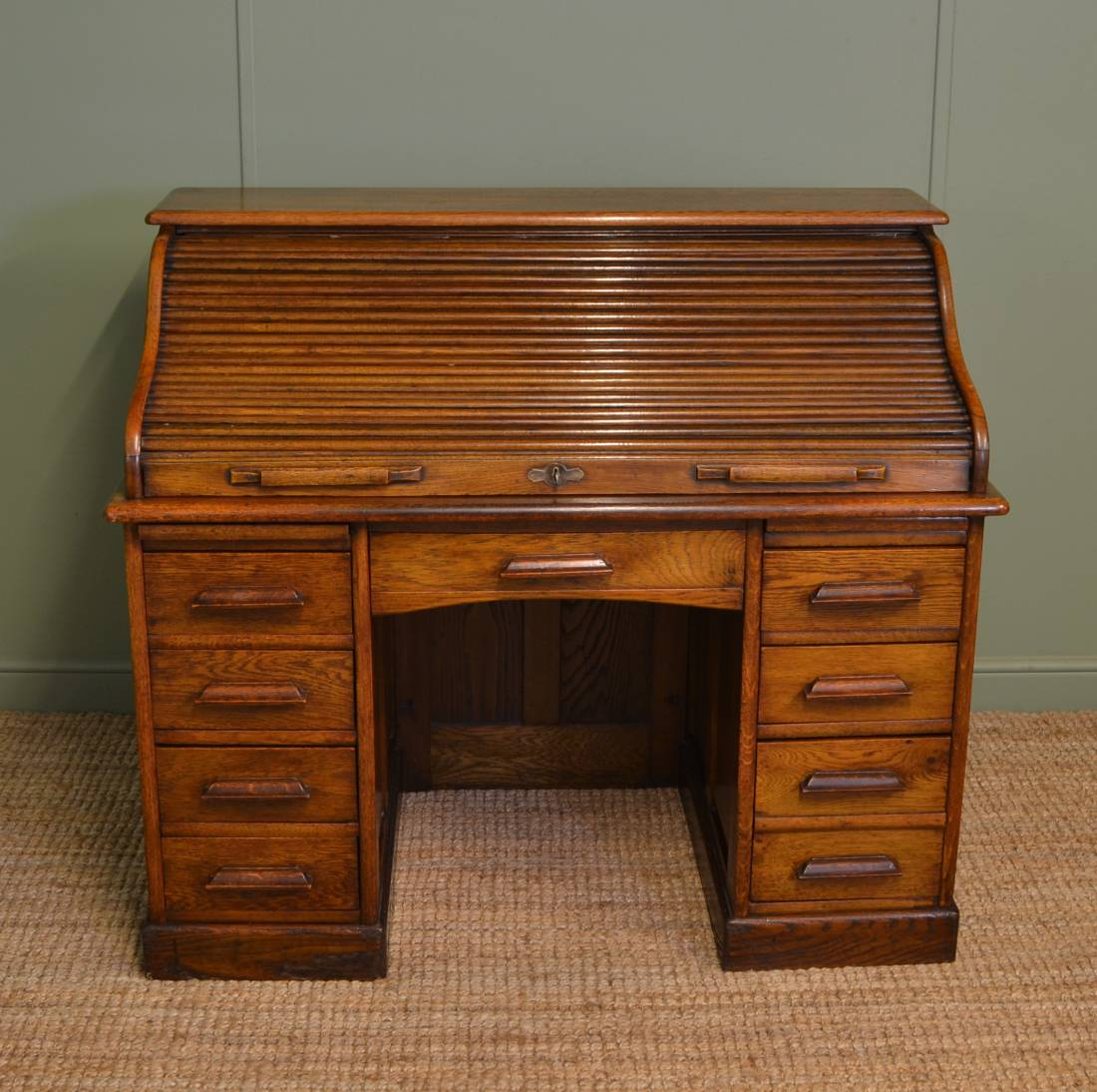 S Shaped Edwardian Solid Oak Antique Roll Top Desk.