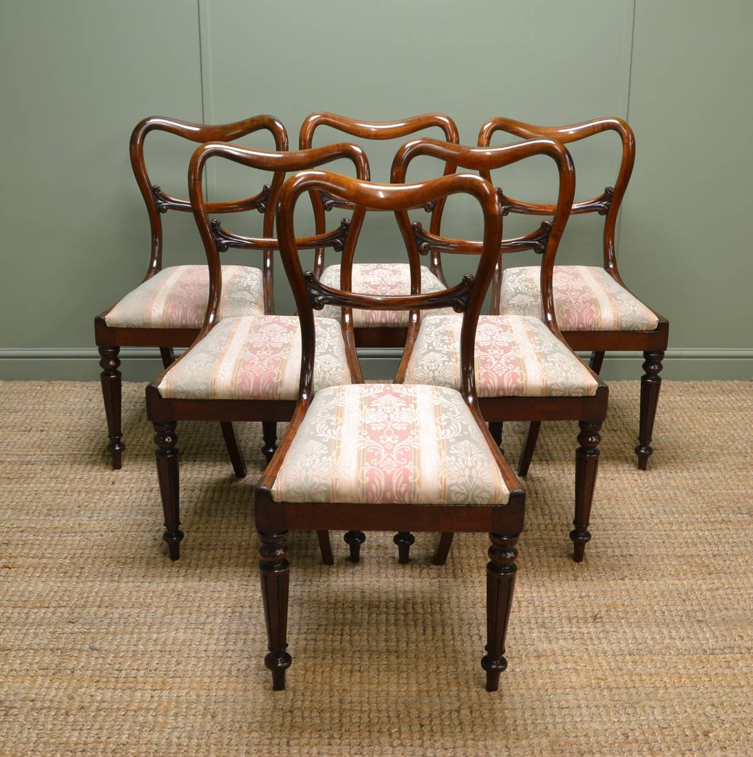 Stunning Quality set of Six William IV Mahogany Antique Balloon Back Chairs