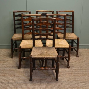 Set of Six Georgian Country Oak Harlequin Antique Ladder Back Chairs
