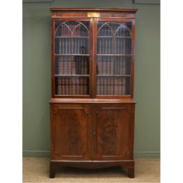 Fine Quality Large Regency Antique Mahogany Bookcase