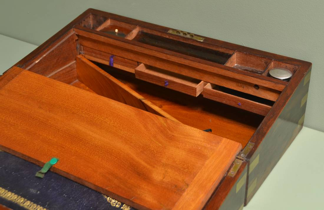 Large Victorian Figured Rosewood Antique Writing Slope with Brass Inlay