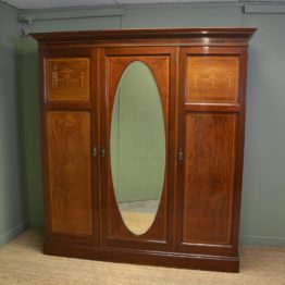Large Superb Quality Edwardian Mahogany Antique Triple Wardrobe