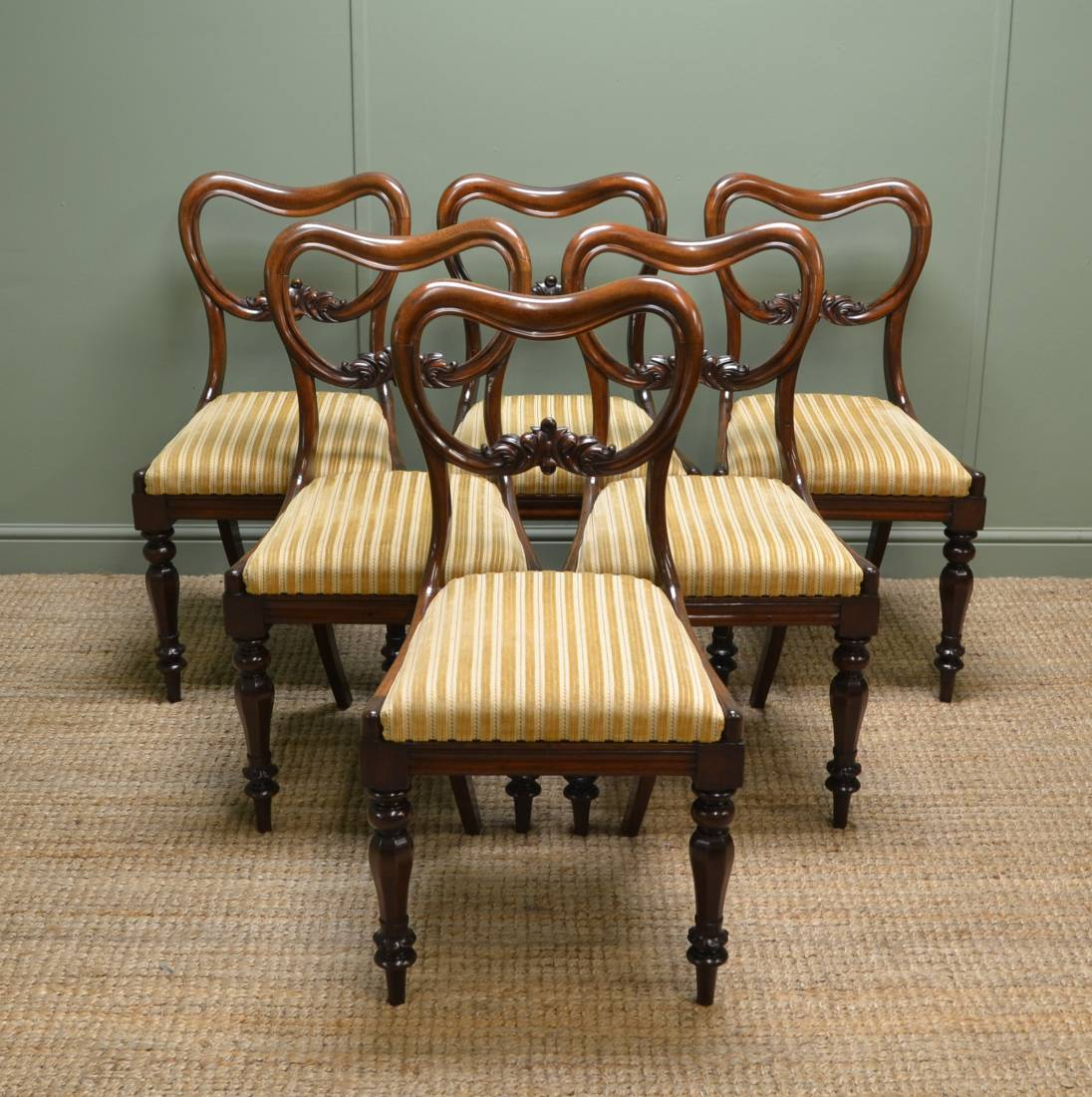 Beautiful set of Six Victorian Antique Balloon Back Chairs