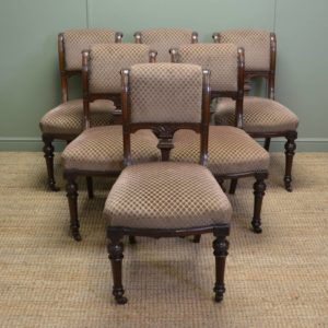 Fine Quality Set of Six Victorian Mahogany Antique Dining Chairs