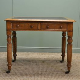 Superb Quality Golden Oak Antique Victorian Writing Table