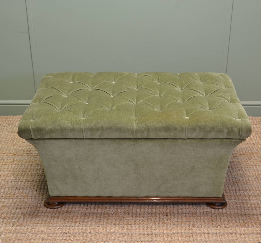 Large Quality Victorian Antique Upholstered Ottoman