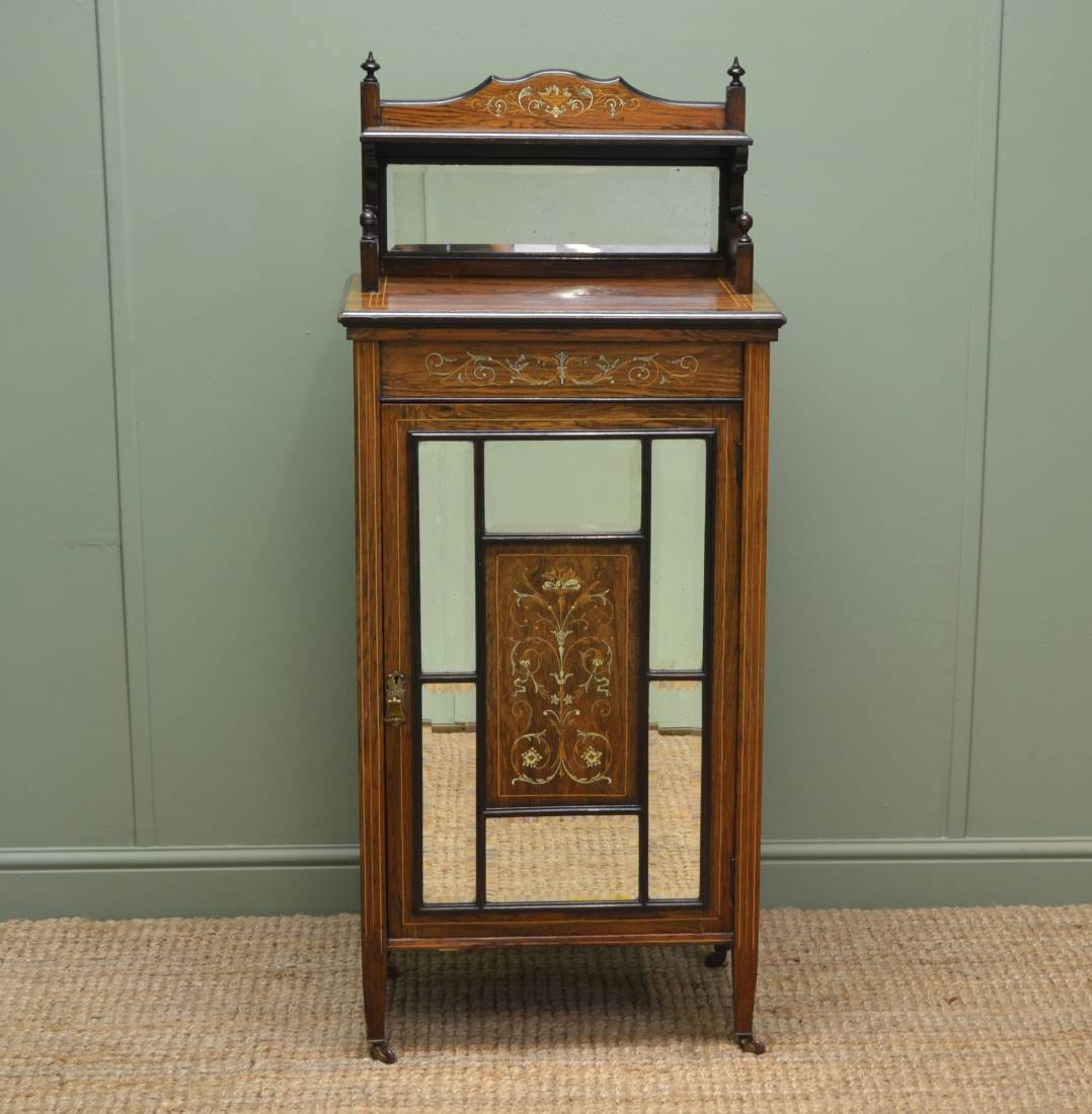 Beautifully Inlaid Antique Victorian Rosewood Cabinet