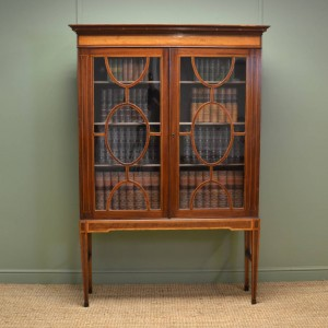 Beautifully Inlaid Regency Mahogany Bookcase on Stand