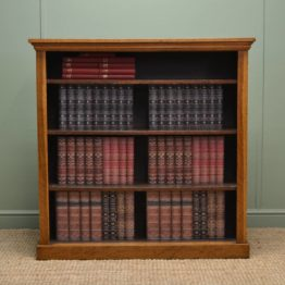 Beautiful Victorian Golden Oak Antique Open Bookcase