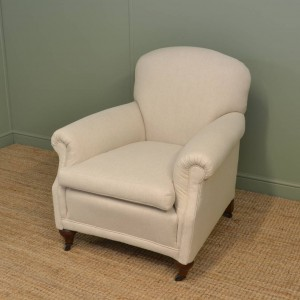 Comfy Edwardian Upholstered Antique Armchair