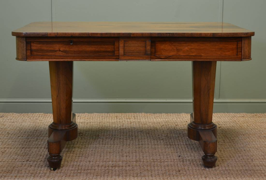 Superb Quality Figured Rosewood Antique William 1V Writing Library Table