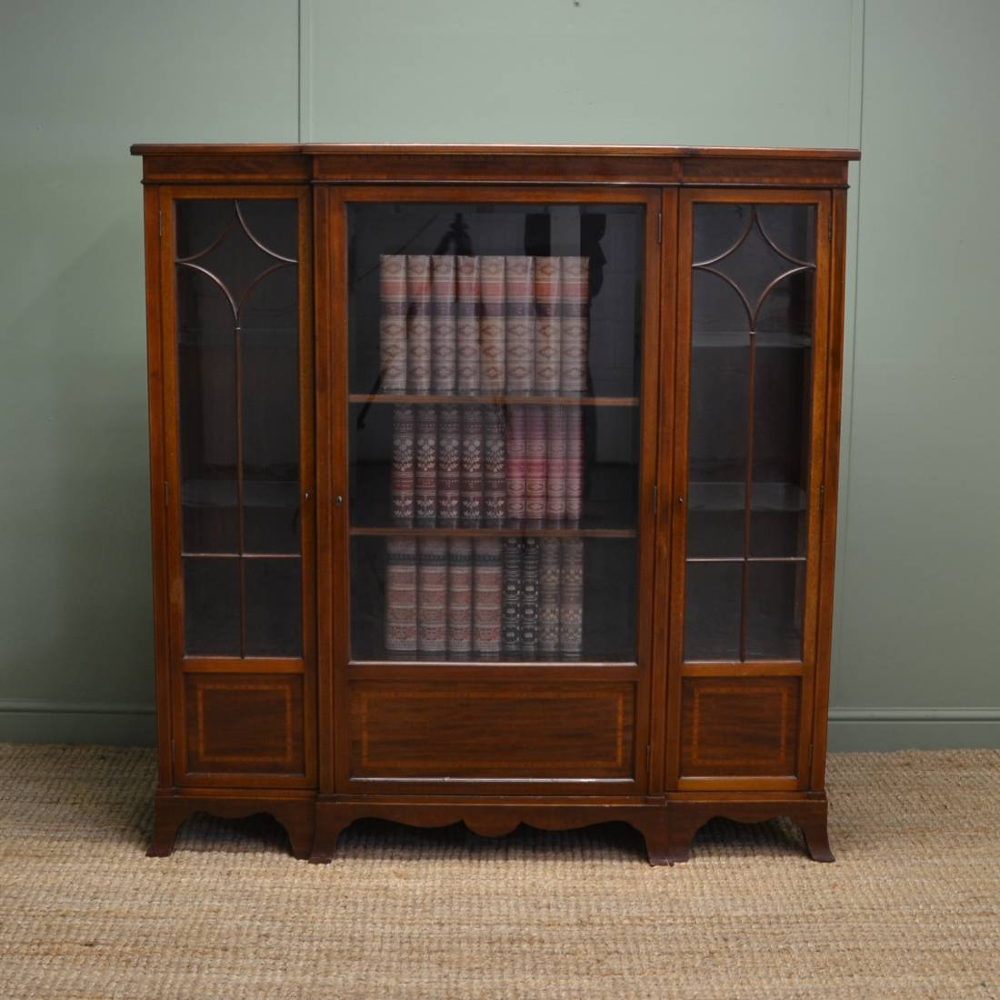 Stunning Quality Antique Maple & Co Victorian Bookcase / Display Cabinet