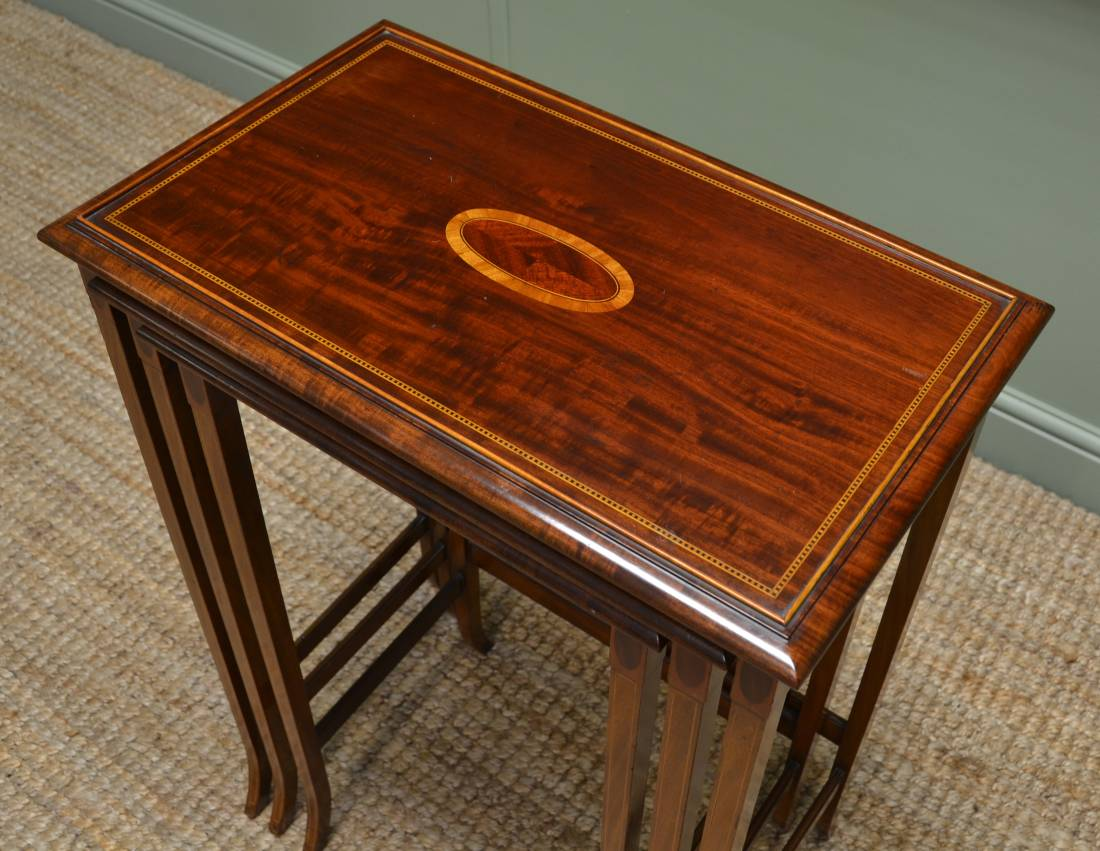 Fine Quality Antique Tall Edwardian Mahogany Antique Nesting Tables