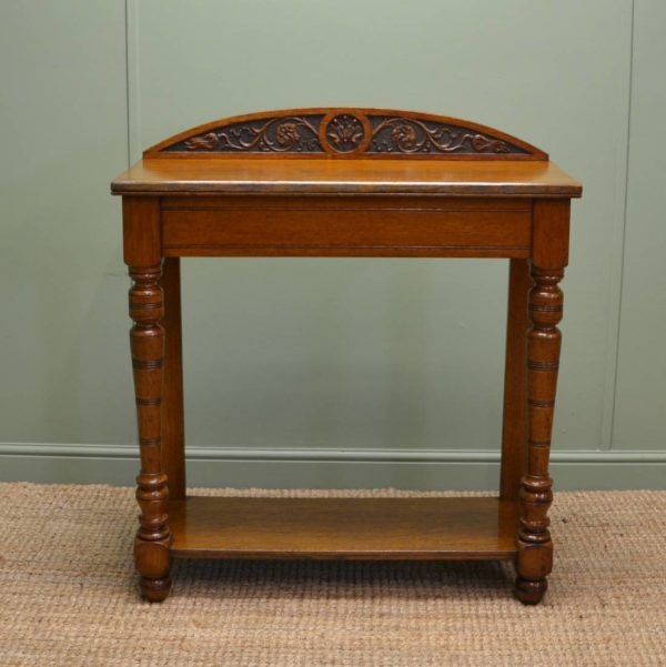Solid Oak Antique Arts and Crafts Hall / Side Table