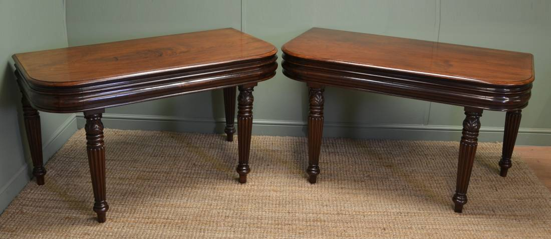 Large Pair of Super Quality Regency Gillows Design' D ' End Console Tables