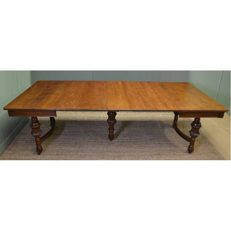 Large solid oak french antique victorian extending dining table antiques world - Antique french dining tables ...