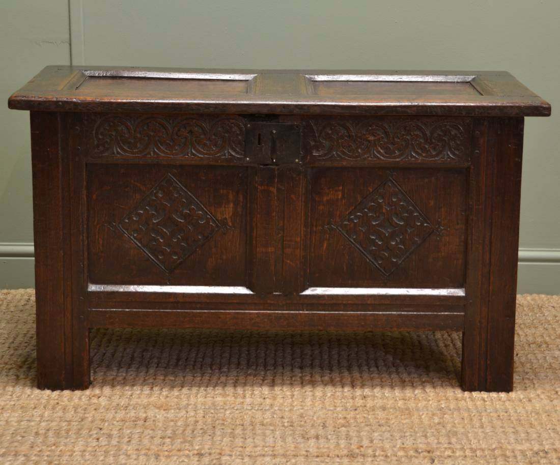 Small Period Oak Antique Country Coffer