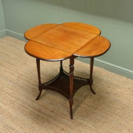 Rare Four Leaf Clover, Edwardian Mahogany Antique Occasional Table.
