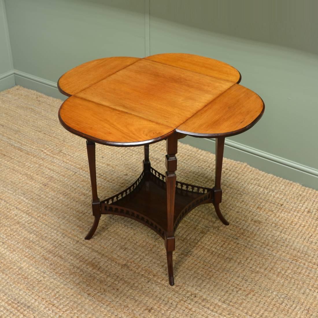 Rare Four Leaf Clover, Edwardian Mahogany Antique Occasional Table.