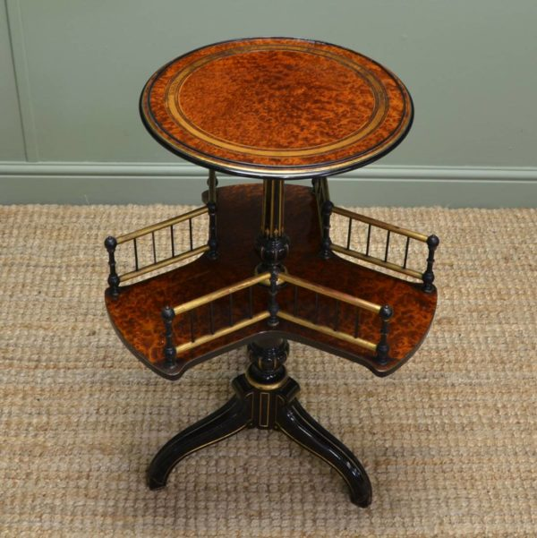 Striking Victorian Amboyna Antique Small Occasional Table / Dumb Waiter