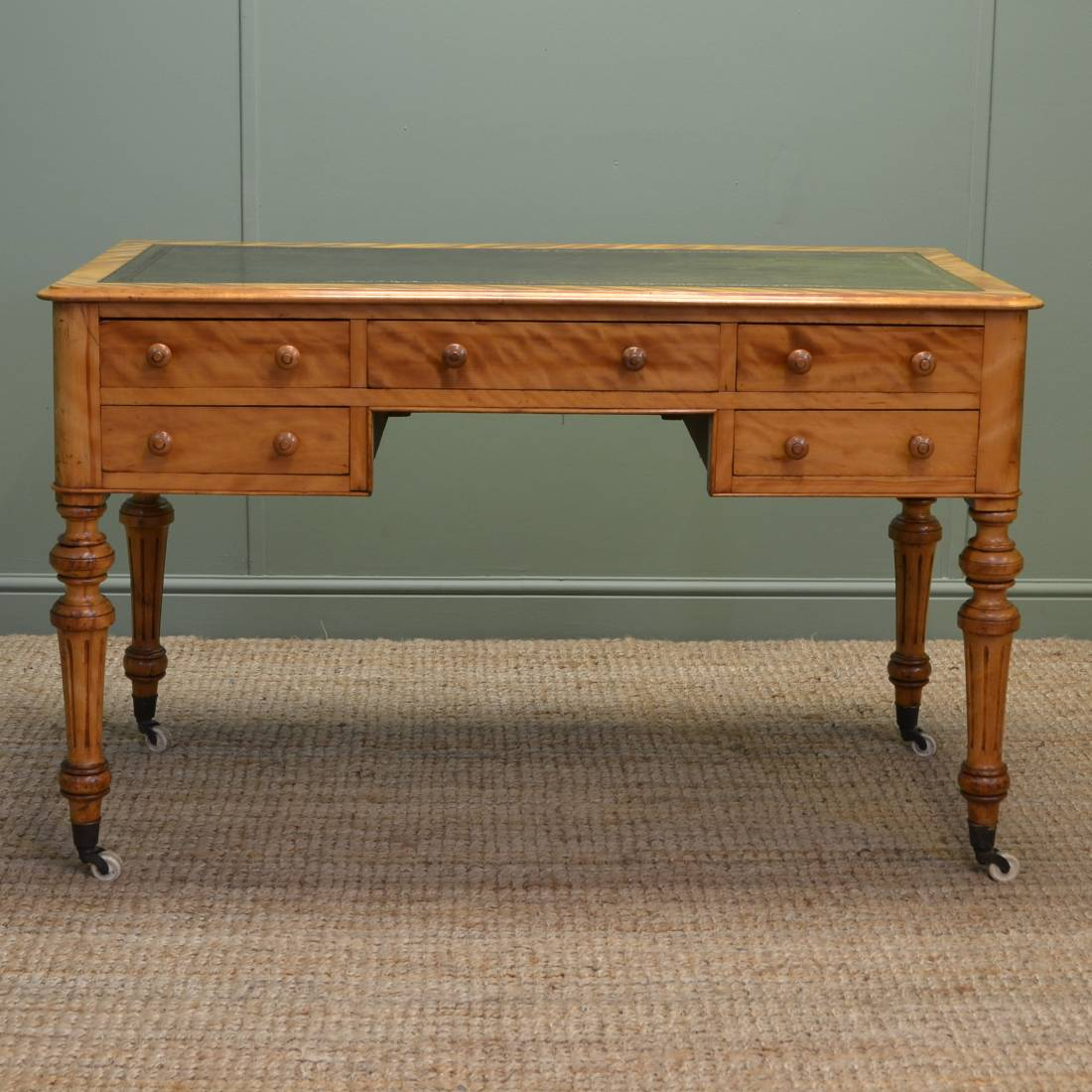 Stunning Quality Unusual Satin Birch Antique Desk / Writing Table - Stunning Quality Unusual Satin Birch Antique Desk / Writing Table
