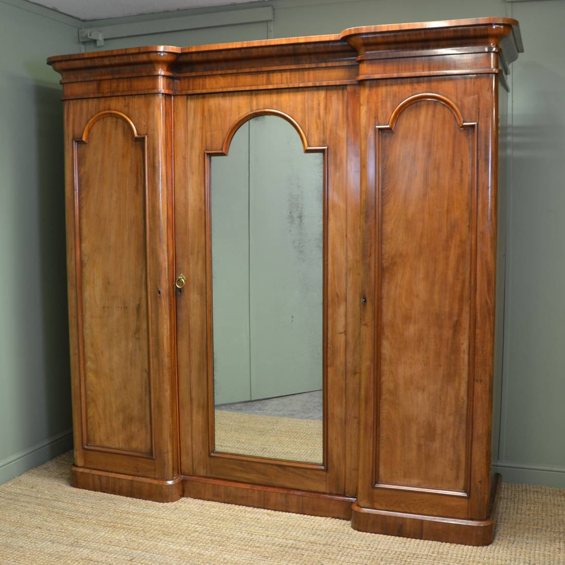 Large Victorian Mahogany Antique Inverted Breakfront Triple Wardrobe