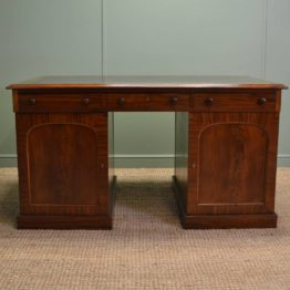 Quality Early Victorian Figured Mahogany Antique Partners Desk