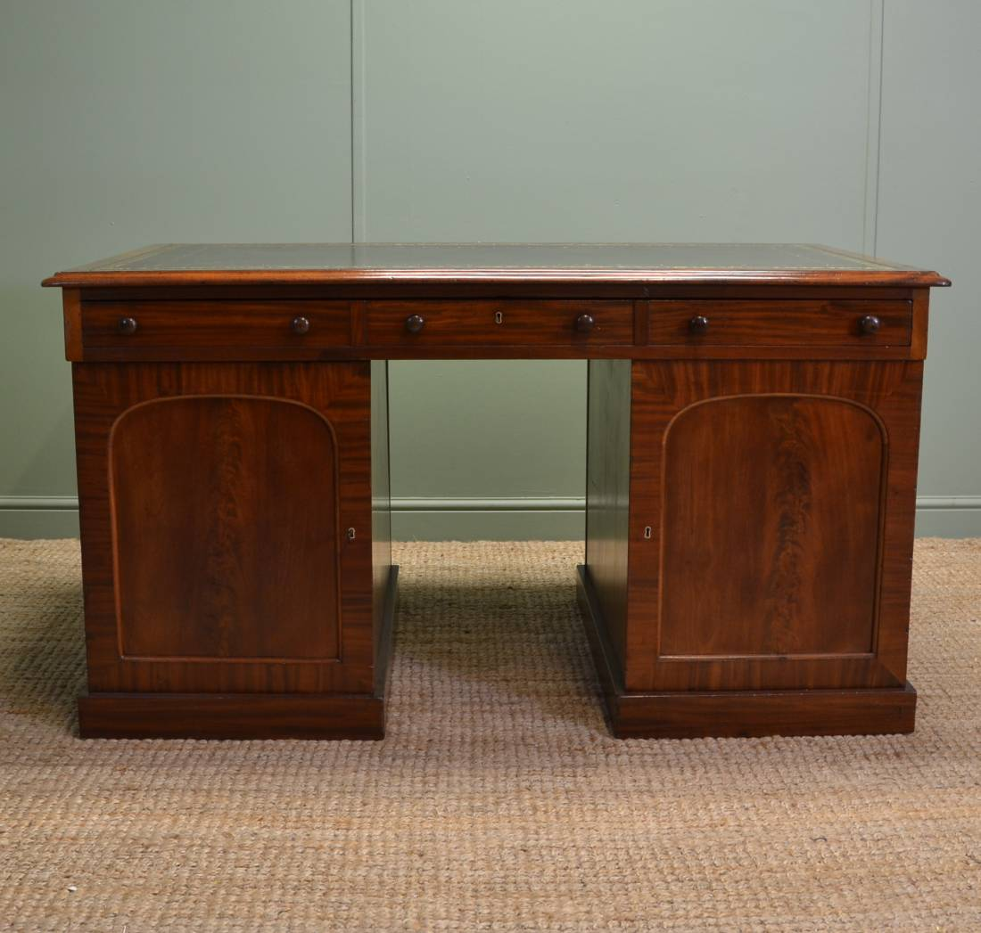 Antique Partners Desk Black Gloss Desk With Drawers